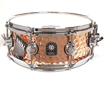 "Natal 13"" x 5.5"" Hand Hammered Steel Shell Snare Drum, Copper Finish"