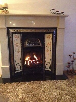 Fire and fireplace with lovely marble surround