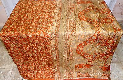 Brown Pure Silk 4 yd Vintage Sari Saree Gifts Sale feminine Birthday Home #OEDV9