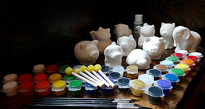 Paint Your Own Pottery - Children's Party Kit - 10 pack, craft set