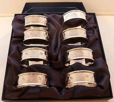 Boxed Set 8 Hallmarked Solid Silver Napkin Rings Excellent Condition 108.3g