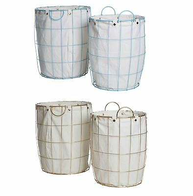 Set of 2 Round Blue & Gold Wire Laundry Basket Plated Iron Wire/Cotton Mix Liner