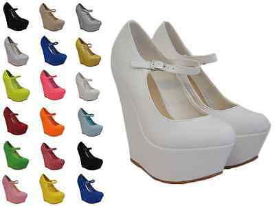 Womens Ladies Wedge Platform Mary Jane Style Strappy Chunky Sole Sizes 3-8