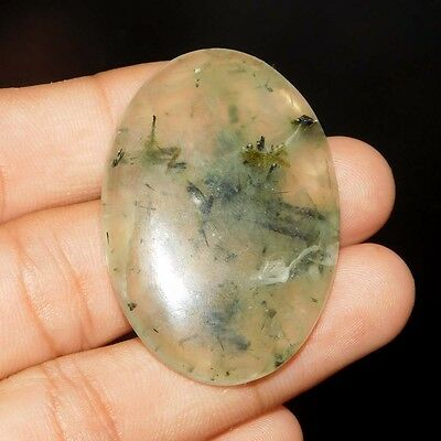 91Cts 100% NATURAL  ATTRACTIVE Prehinite Oval 43X30 CAB GEMSTONE