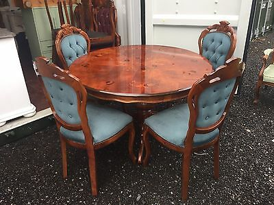 Round Pedestal Inlaid Solid Mahogany Dining Table & 4 Four Louis Chairs Italian