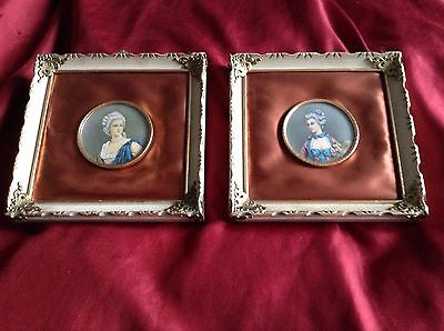 Vintage Pair of  Beautiful Framed Miniature Portrait Prints