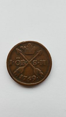 SWEDEN 1 ORE 1769 SWEDISH ANTIQUE  COPPER COIN 18thC Error WITH DATE