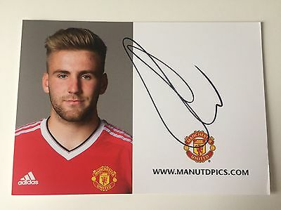 RARE 2015/16 Luke Shaw Manchester United Signed Club Card + COA AUTOGRAPH