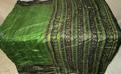 Henna Black Pure Silk 4 yard Vintage Sari Saree Pattern Patterns India US #OEE3I