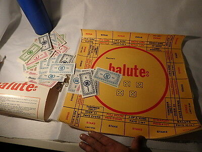 """Rare Vintage """"balute"""" Dice Board Game In Tube"""