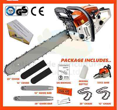 """12"""" & 20"""" 53cc Petrol Chainsaw Complete With 2 x Bars, Chains & Bar Covers"""