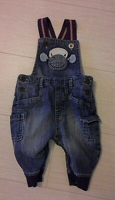 next baby boy monkey denim dungarees jeans size 3-6 months poppers