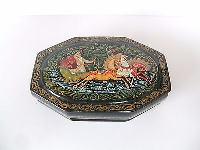 19th or 20th Century Russian Lacquer papier mache box. Signed. Beautiful