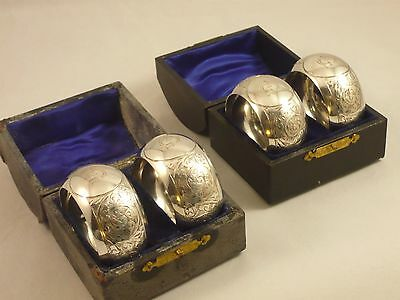 Good Set of 4 boxed Antique Sterling Silver Napkin Rings by John Rose Birm. 1908