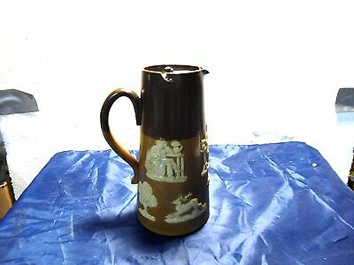 Antique 1910 Royal Doulton Lambeth Stag Hunting Scene  Pottery Pitcher/W LID