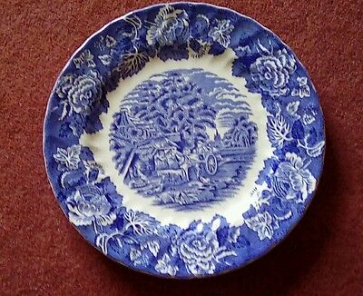 Enoch Woods English Scenery Woods Ware - Blue & White plate 10 inch diameter