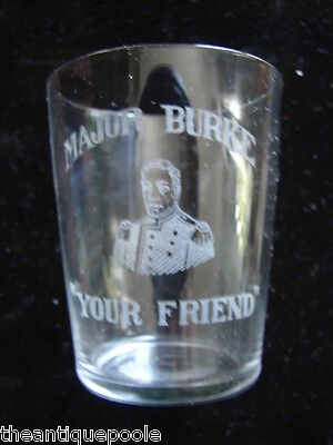 Rare Antique Pre-Prohibition NY McGreal's Major Burke Whiskey Etched Shot Glass