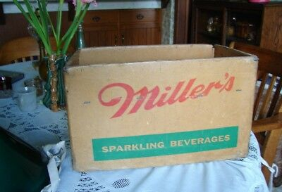 1964 Miller's Sparkling Beverage Carrier Crate Box w/4 sided Red & Green Label