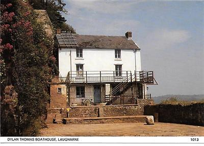 Laugharne,dylan Thomas Boathouse,coloured Postcard.