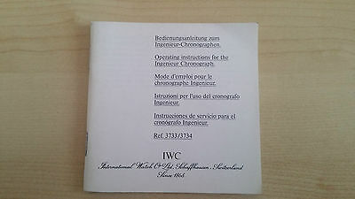 Iwc  Ingenieur Chronograph Ref. 3733 / Ref. 3734 Operating Instructions Booklet