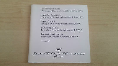 Iwc Portuguese Chronograph Automatic Ref. 3714 Operating Instructions Booklet