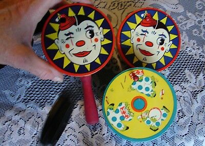 3 Vntg Lithographed Clown Circus Party Tin Clacker Noise Maker T.C.+ Made in USA