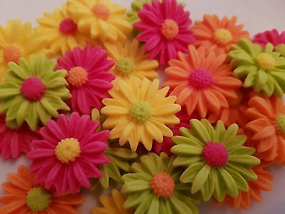 18 Edible Sugar Daisies Bright Flowers Birthday Wedding Cake Cupcake Toppers