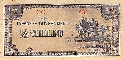 Oceania  1/2  Shilling  block OC  ND. 1944   WWII Circulated Banknote WNS16J