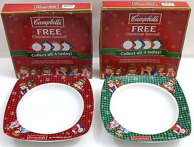 Lot of 2 CAMPBELLS Limited Edition Christmas Special Soup Plate Bowls NIB