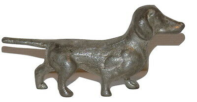 """Vintage SOLID Pewter Miniature DACHSHUND Dog 2.4"""" Long Figurine FREE S&H"""