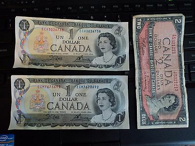 1973 Canada  --QE II-- 2 $1  Dollar Notes crisp and nice One $2 Dollar note 1954