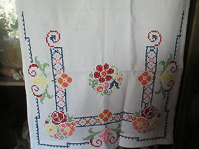 Antique over towel embroidered on white cotton,flowers in cross-stitch Germany