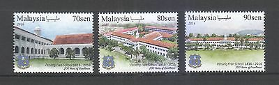 Malaysia 2016 Penang Free School 200 Yaers Of Excellence Comp. Set 3 Stamps Mint