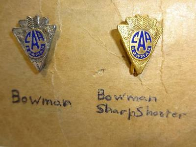 2 Vtg Caa Camp Archery Association Bowman Medal Awards Pins ~ 1St And 2Nd Place