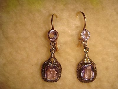 "ANTIQUE VICTORIAN 1 1/2"" 14 KT yellow & white GOLD & AMETHYST DANGLE EARRINGS"