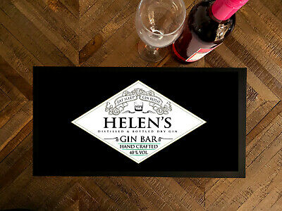 Personalised bar runner with your name Black Gin Spirits Label Home Bar mat