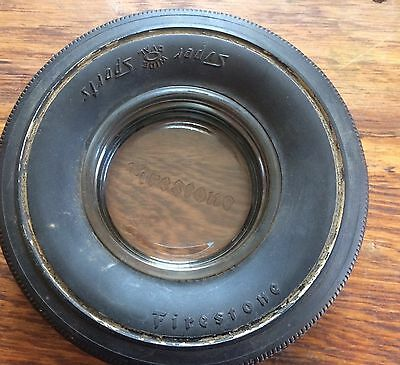 Vintage Firestone Super Sports Rubber Tire Etched Glass Insert Ashtray
