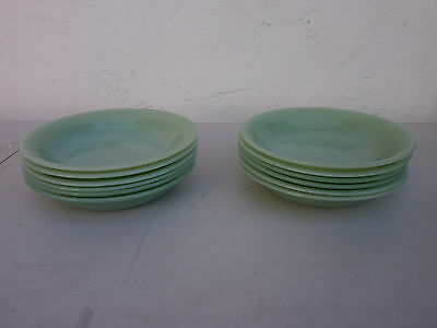 """Fire King JANE RAY* JADEITE* 7 5/8"""" FLAT SOUP BOWLS Set of 6 Green Exc Condition"""