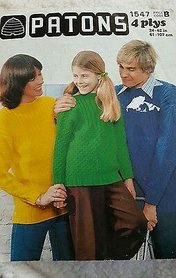 VINTAGE PATONS BOY'S/GIRL'S/ADULTS SWEATER PATTERN no 1547