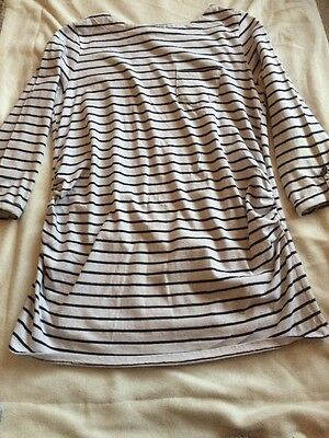 Red Herring 3/4 Sleeve Naval Stripped Maternity Top Size14