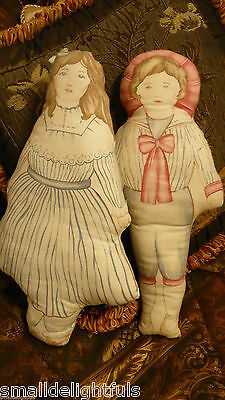 "Antique-Vint Classic Victorian  Pair 15"" Cloth Print Pillow Dolls Mint No Date"