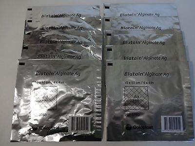 Coloplast Biatain Alginate Ag Soft Dressing with Silver 3760 4 x 4 in (10 PACK)