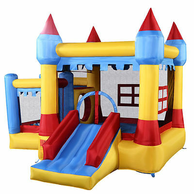 New Kids Bounce House Train Slide Jumper Inflatable Bouncer w/ 680W Blower