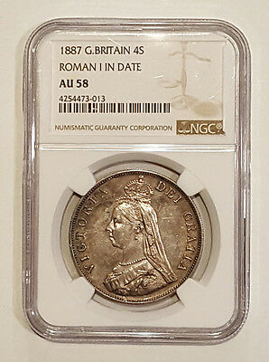 """1887 4 Shilling Double Florin NGC AU58 """"Barmaid's Grief"""" Roman I in date KM #763"""