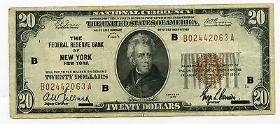 1929 $20 Federal Reserve Bank of New York New York VF/XF