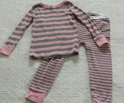 Old Navy girls pajamas pink and gray stripes 3T