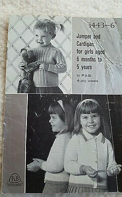 VINTAGE PATONS-BEEHIVE BOY'S/GIRL'S SWEATER AND CARDIGAN  PATTERN no 1443