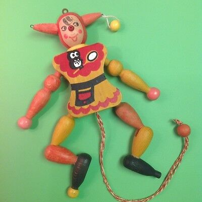 VTG Handmade 1938 Pull String Austrian Wooden Jester with Owl playing Tennis