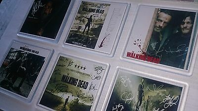 6x The Walking Dead Coasters - Cast Signed Collection. +2 FREE TWD signed prints