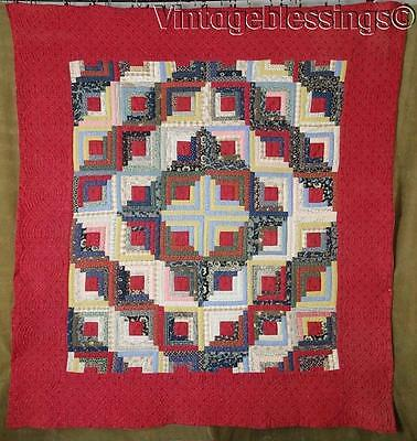 RICH Turkey RED Beautiful ANTIQUE c1880 Log Cabin QUILT Amazing Fabrics 77x71""